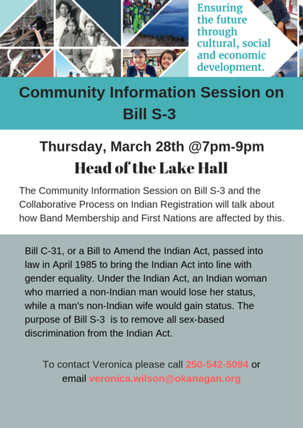 Community Information Session On Bill S 3