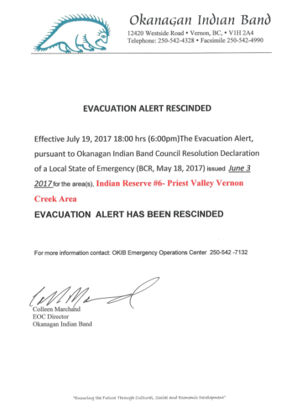 Evacuation Alert Rescind Indian Reserve 6