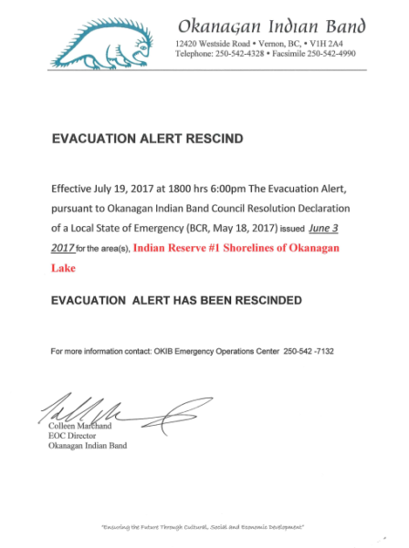Evacuation Alert Rescind Indian Reserve 1