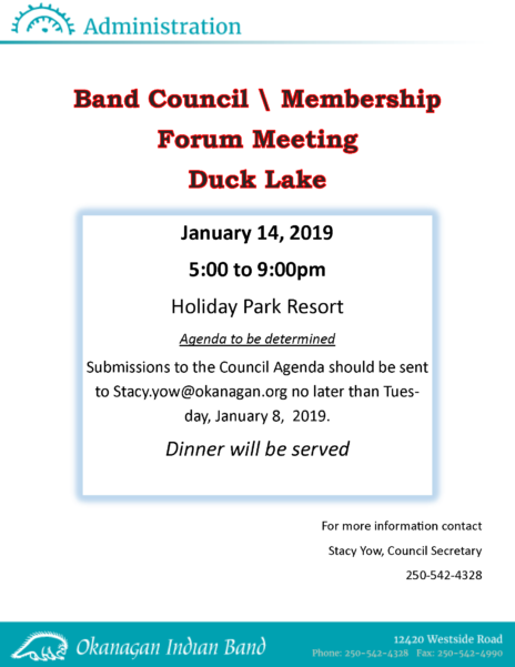 Duck Lake Council Mtg Notice
