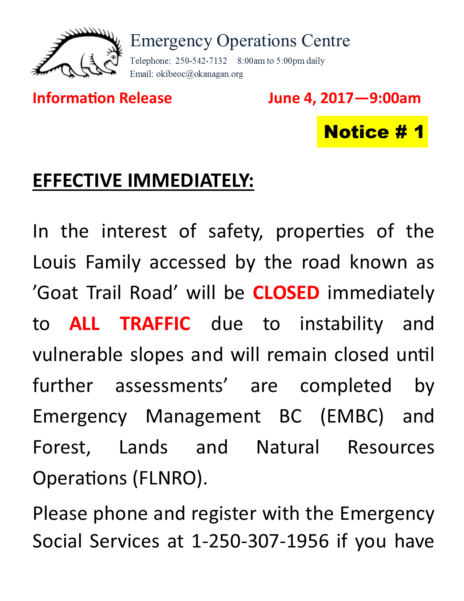 Eoc Information Louis Estates Road Closure Revised June 4 2017 9Am