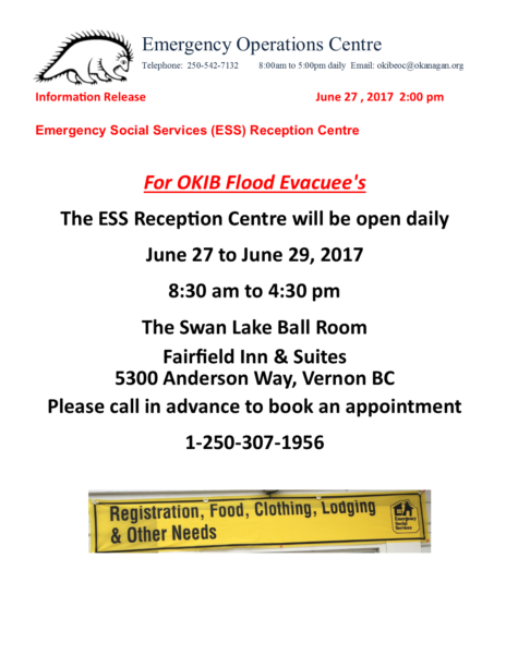 Eoc Information Release June 26 2017 Ess Reception Centre