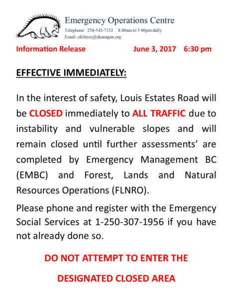 Eoc Information Release June 3 2017 Louis Estates Road Closure 645 Pm
