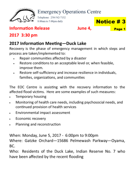 Eoc Information Release June 4 2017 Townhall Meeting Duck Lake Page 1