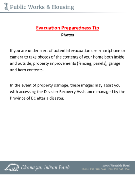 Evacuation Tips