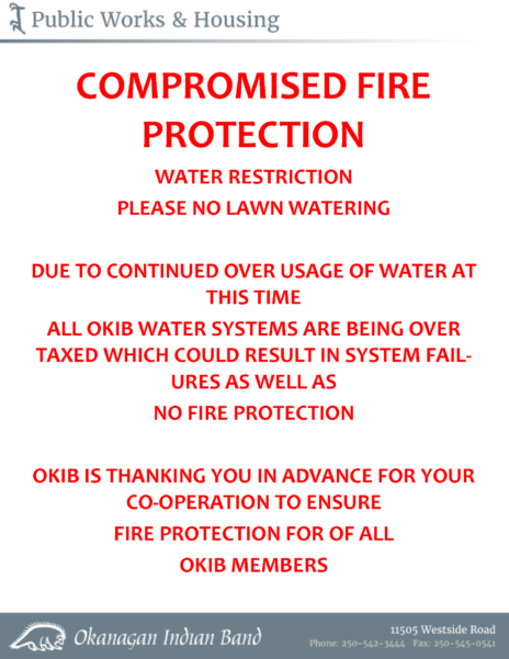 Fire And Water Restrictions July 2017