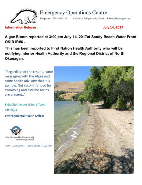 Okib Eoc Information Release Algae Bloom 14 July 2017