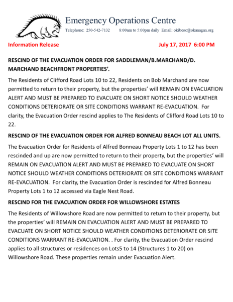 Okib Eoc Information Release July 172017 Rescind Of Evacuation Order