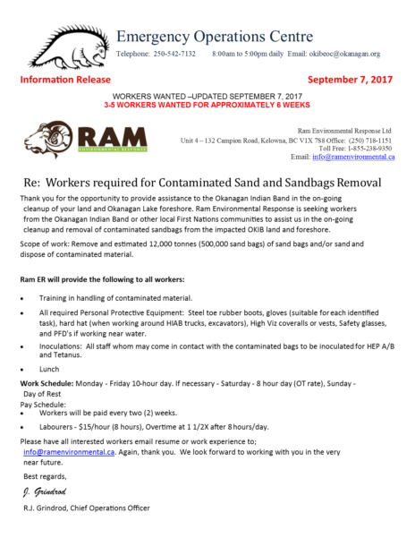Okib Eoc Information Release September 7 2017 Ram Environmental Workers Wanted