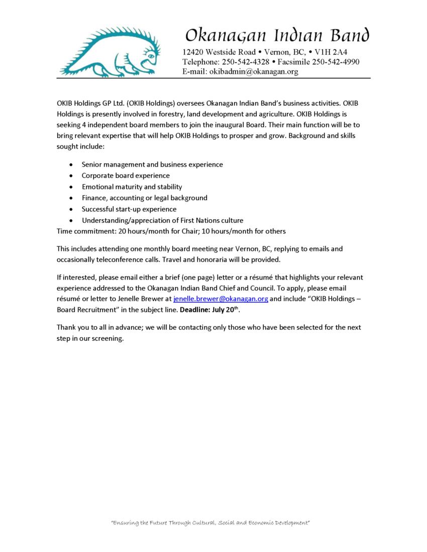 OKIB Call for Board of Director Applicants - Okanagan Indian Band